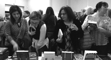 Attendees browse the pop-up bookstore